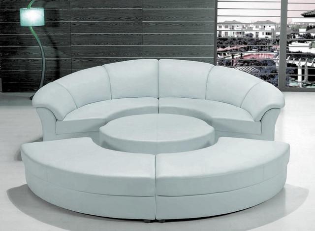 Stylish White Leather Circular Sectional Sofa - Modern - Living .