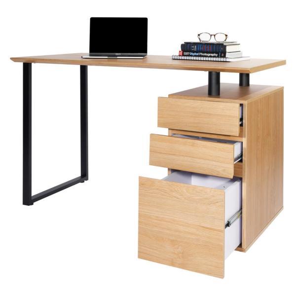 Techni Mobili 47 in. Rectangular Pine/Black 3 Drawer Computer Desk .