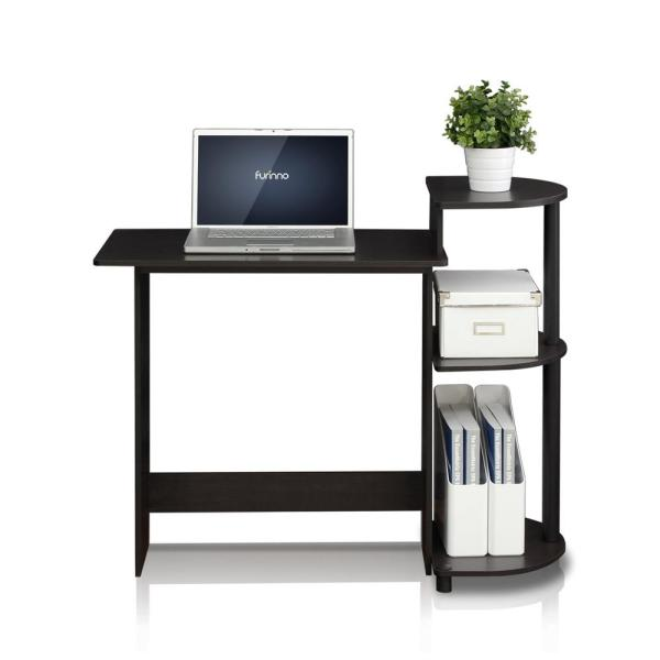 Furinno 39 in. Rectangular Espresso/Black Computer Desk with .