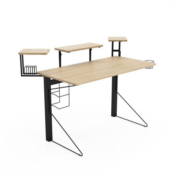 Jamesdar 51 in. Rectangular Black/Natural Computer Desk with Shelf .