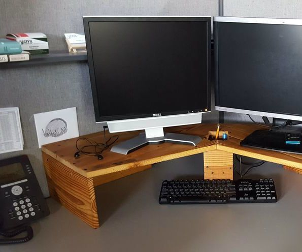 Computer Monitor Riser   Diy computer desk, Computer desk .