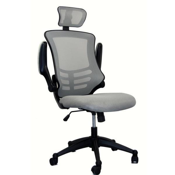 Techni Mobili Silver Grey Modern High-Back Mesh Executive office .