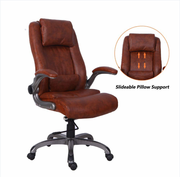 Qwork High Back Executive Office Chair with Flip-up Arms .
