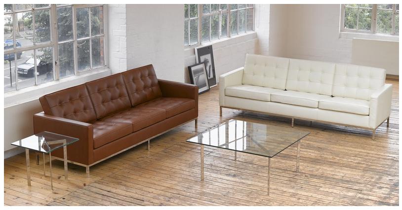 Florence Knoll Style Sofa 3 Seat, Cream White Premium Leather .