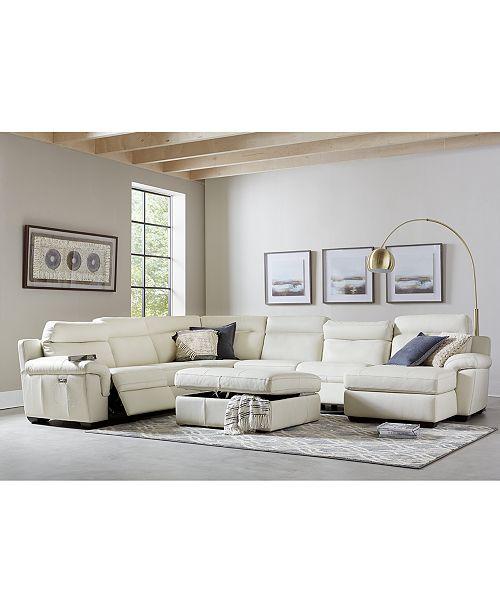 Furniture Julius II Leather Power Reclining Sectional Sofa .