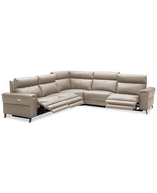 Furniture Raymere Fabric & Leather Power Reclining Sectional Sofa .