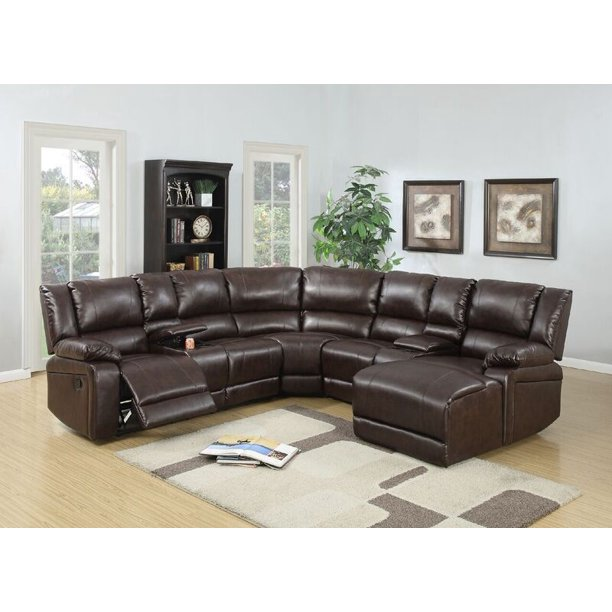 Poundex Segudet Bonded Leather Motion Sectional Sofa (Brown .