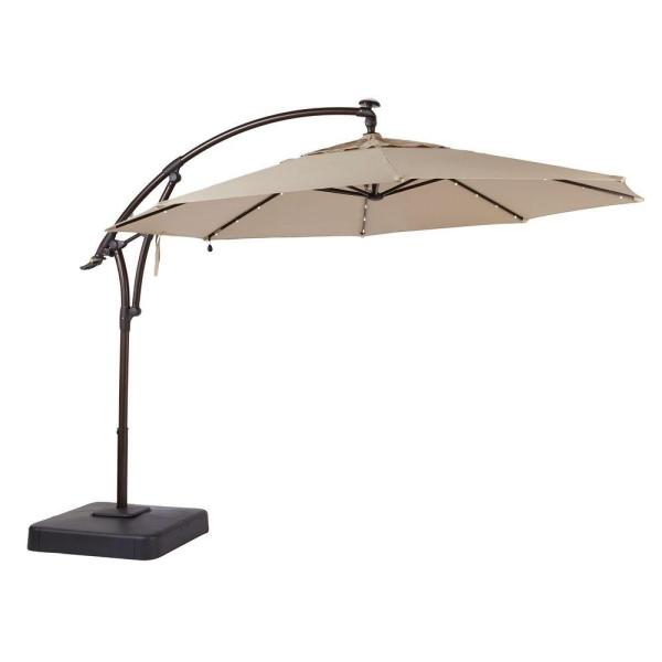 Hampton Bay 11 ft. LED Round Offset Outdoor Patio Umbrella in .