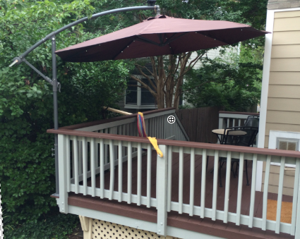 mount a cantilever umbrella outside the deck rail to save valuable .