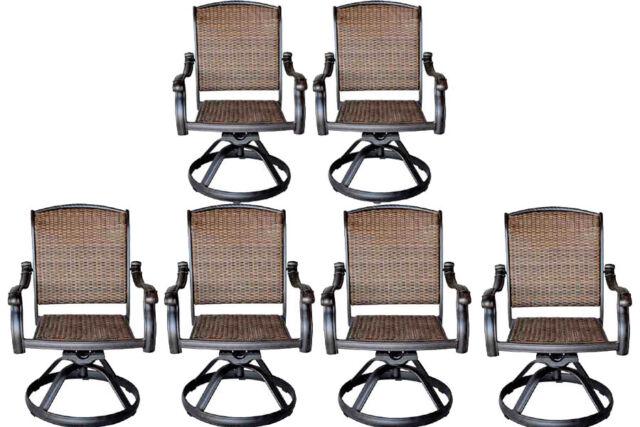 Wicker swivel rocker patio chairs set of 6 outdoor cast aluminum .
