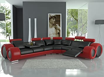 Amazon.com: Modern Franco Leather Sectional Sofa - Black / Red .