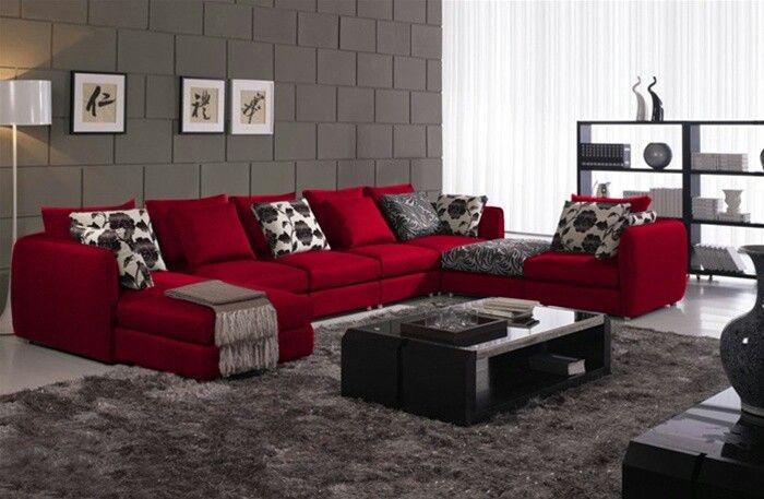 Red,black,Grey,white LR   Red sofa living room, Living room red .