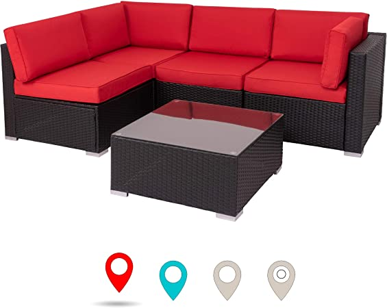 Amazon.com: Walsunny Outdoor Black Rattan Sectional Sofa- Patio .