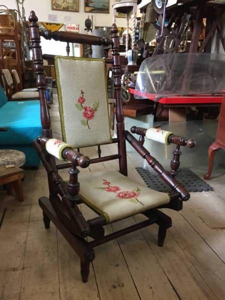 Antique Vintage Rocking Chair Rocker Armchair Dexter Tapestry .