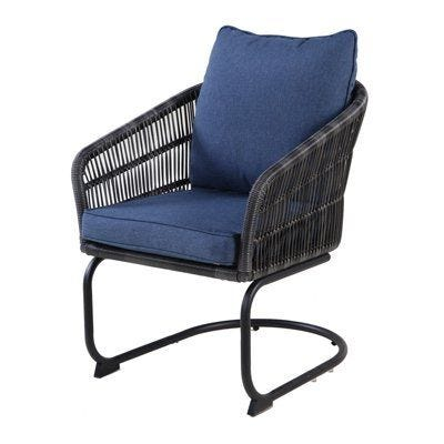 Adelaide C-Spring Cushioned Dining Chairs, Charcoal Wicker, Steel .