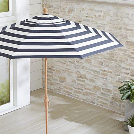9' Round Sunbrella Cabana Stripe Navy Patio Umbrella with Tilt .