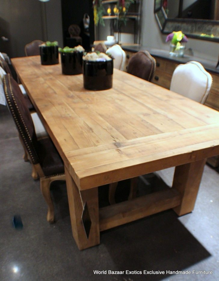 ... beautiful solid wood dining table made of tables and benches with wrought iron QSWGEWS