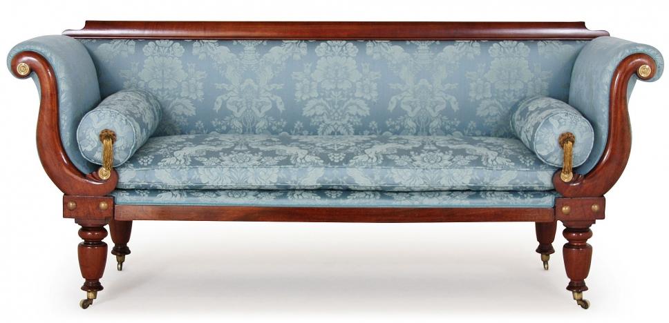 ... early Victorian sofa made from Gainsborough Chatsworth fabric.  JBHKAFS