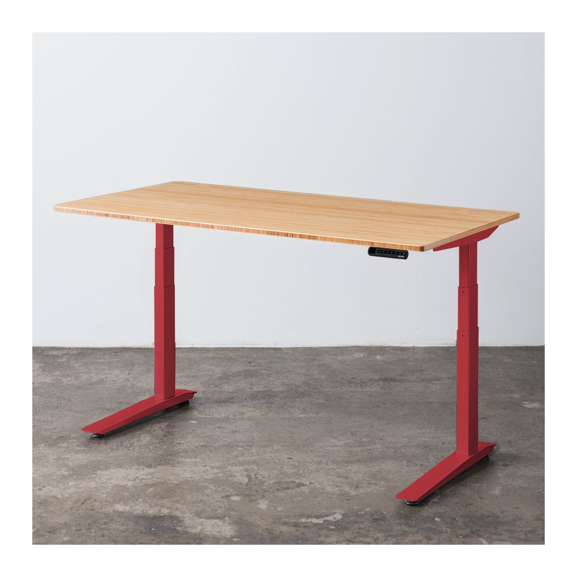 (jarvis) red adjustable standing desk with bamboo ... OCOFBKT