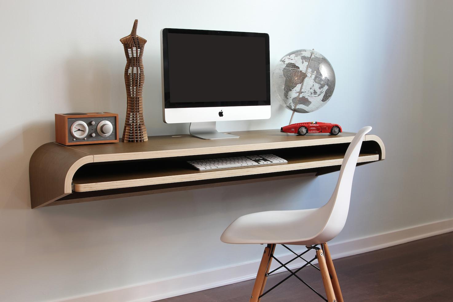 ... minimalist wall desk    Walnut    large    Pull-out shelf    QMYOSVT