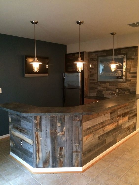 1. Simple and cozy cellar bar idea PTWDPVR