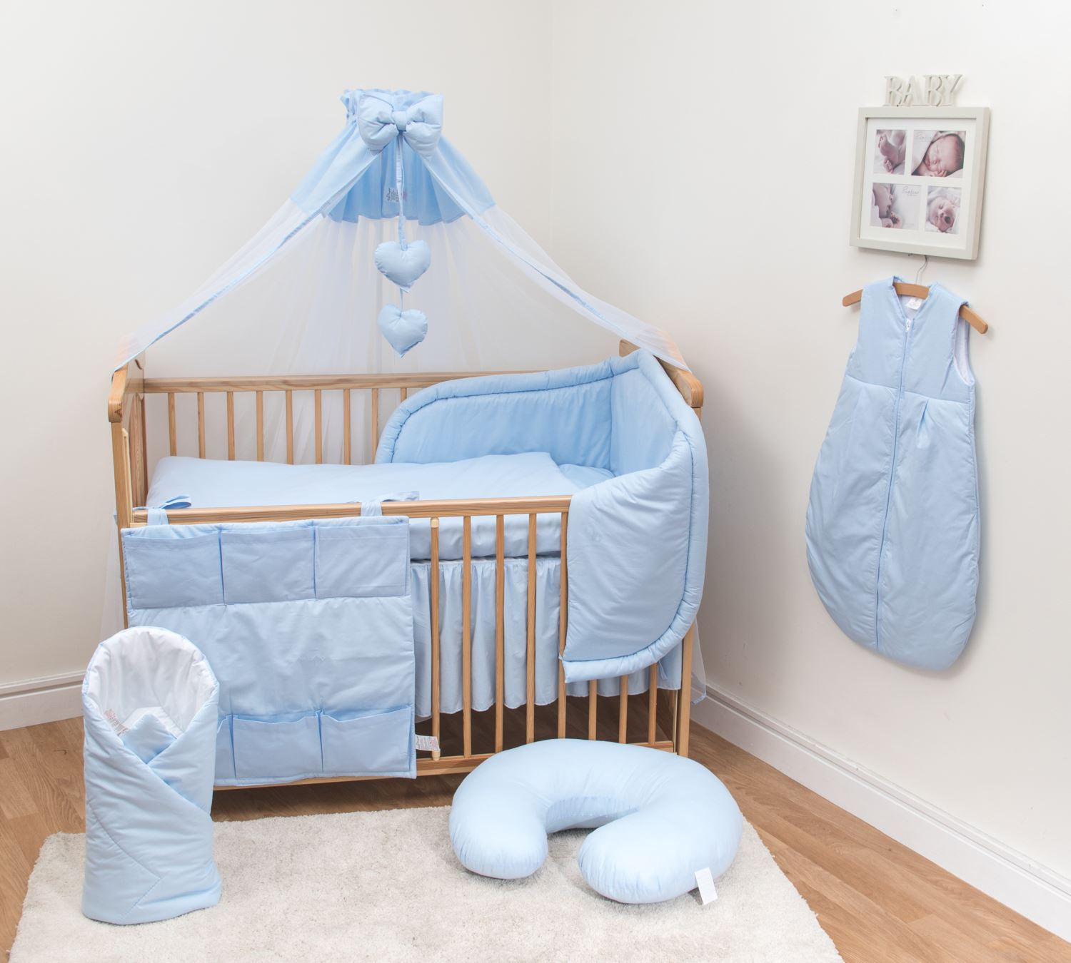 10-piece cot bedding set with padded bumper suitable for 140x70 cm cot CAWNVJW