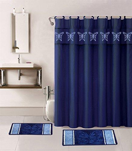 15-piece hotel bathroom set - 2 non-slip bath mats, cloth shower rugs TZAHIXF