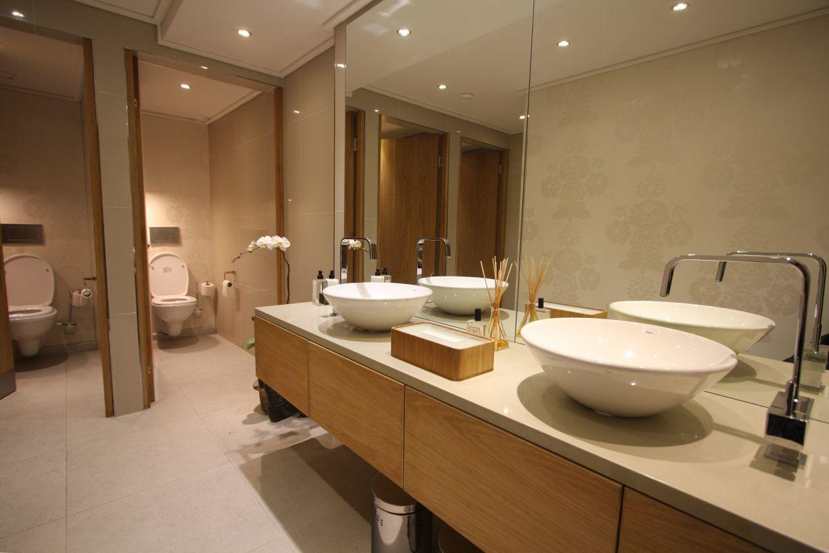 Warm office bathroom