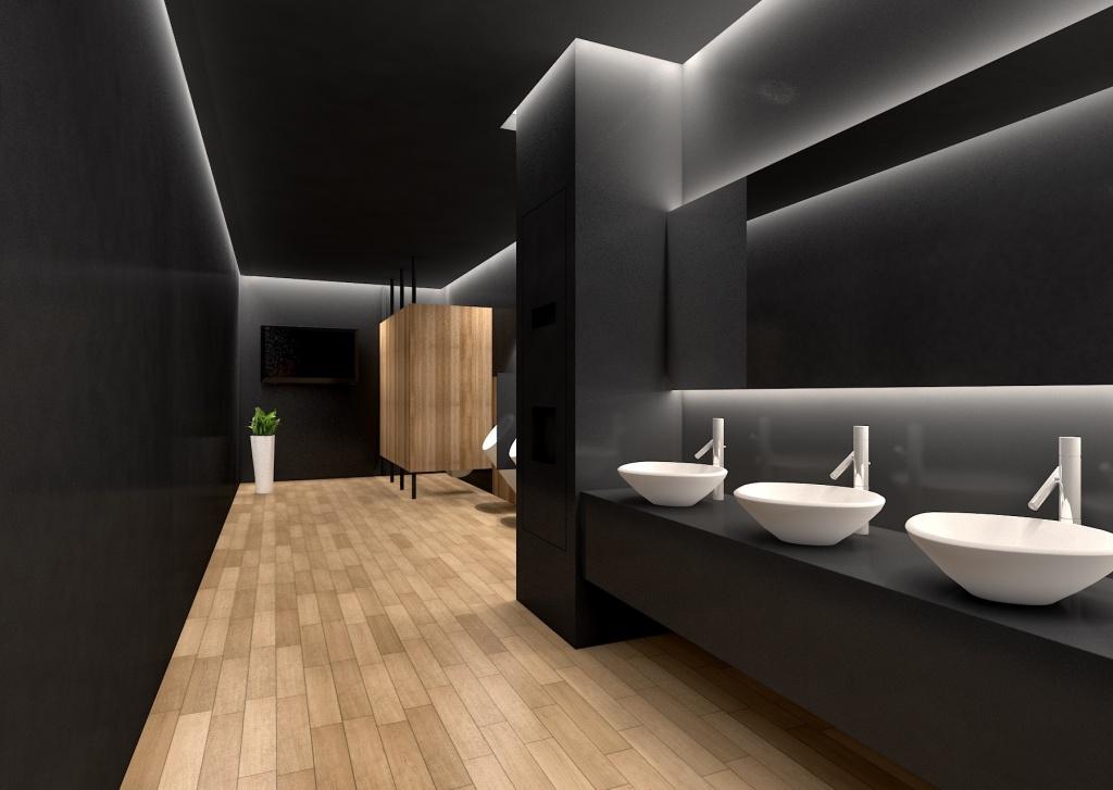 Shimmering office bathroom