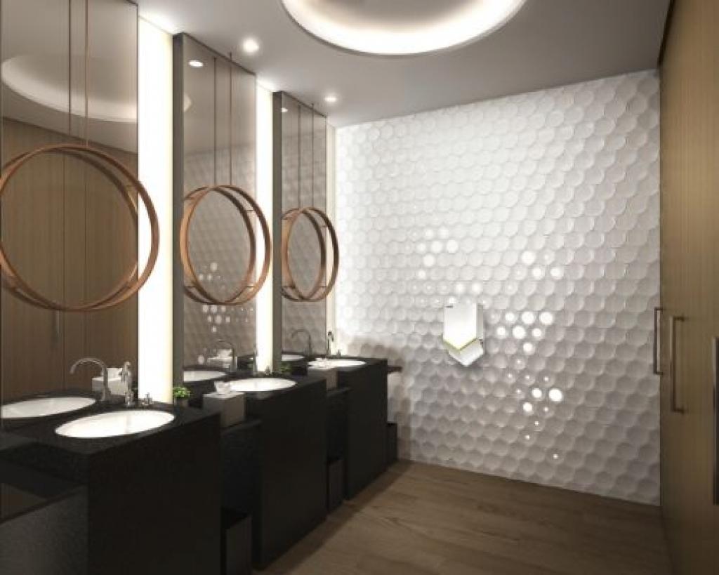 Trendy office bathroom