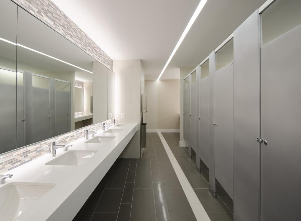 Neutral office bathroom