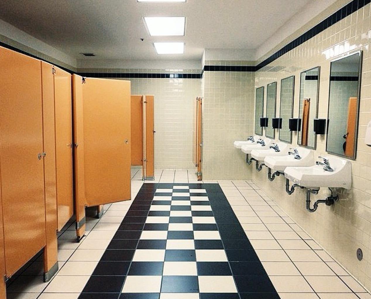 Casual office bathroom