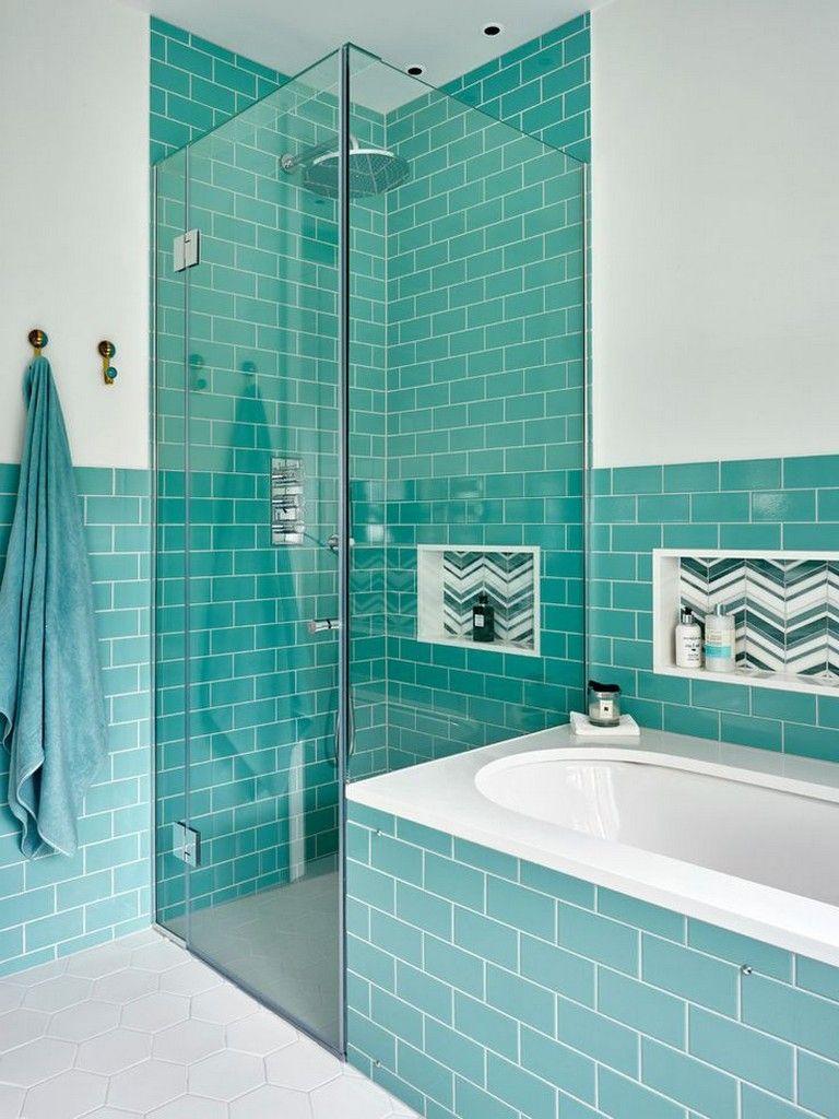 Simple turquoise bathroom