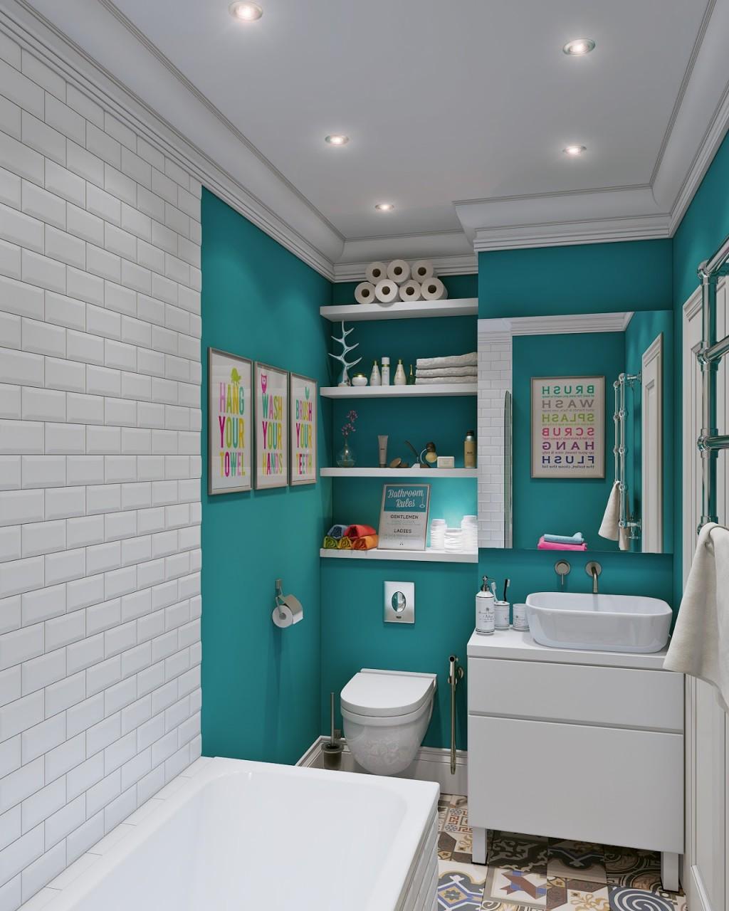 Nice turquoise bathroom