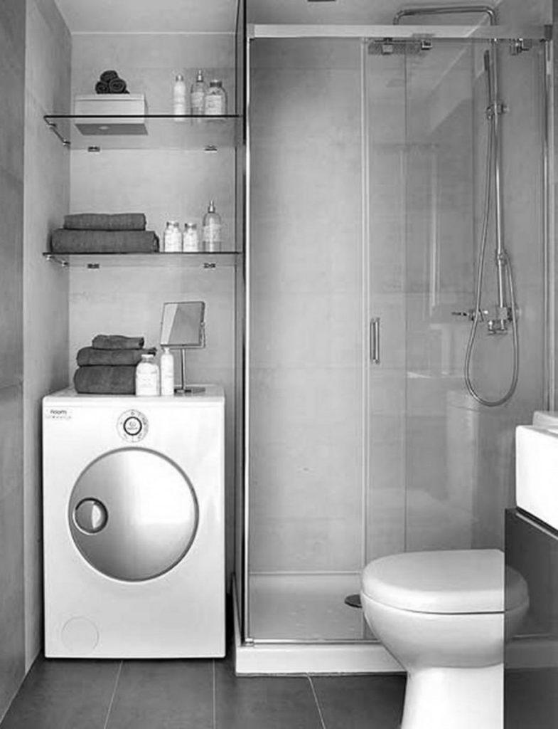 Reflective garage bathroom