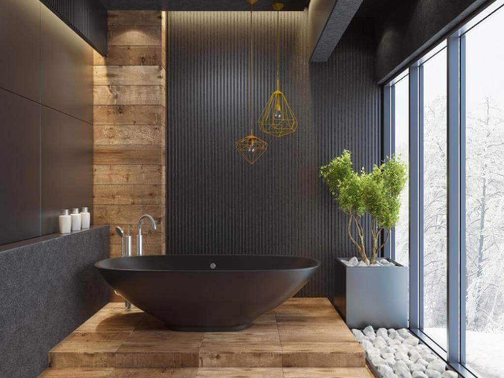 Charming black bathroom