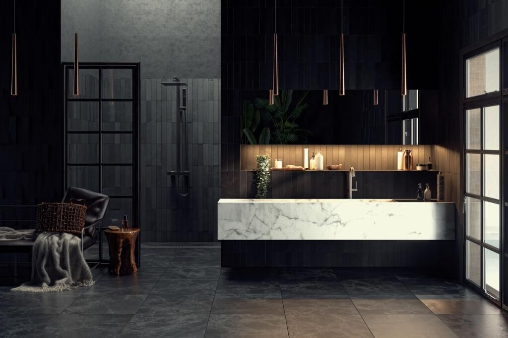 Incredibly black bathroom