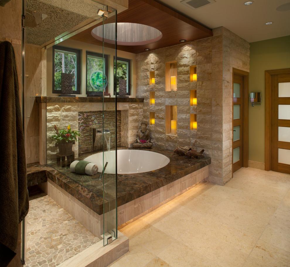 Light marble bathroom
