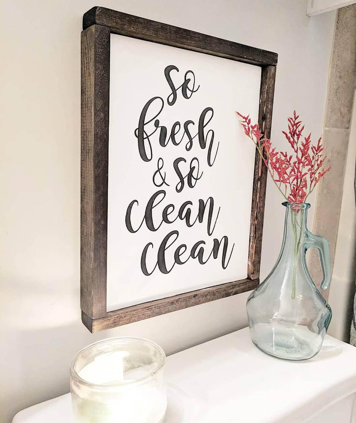 Clean bathroom sign
