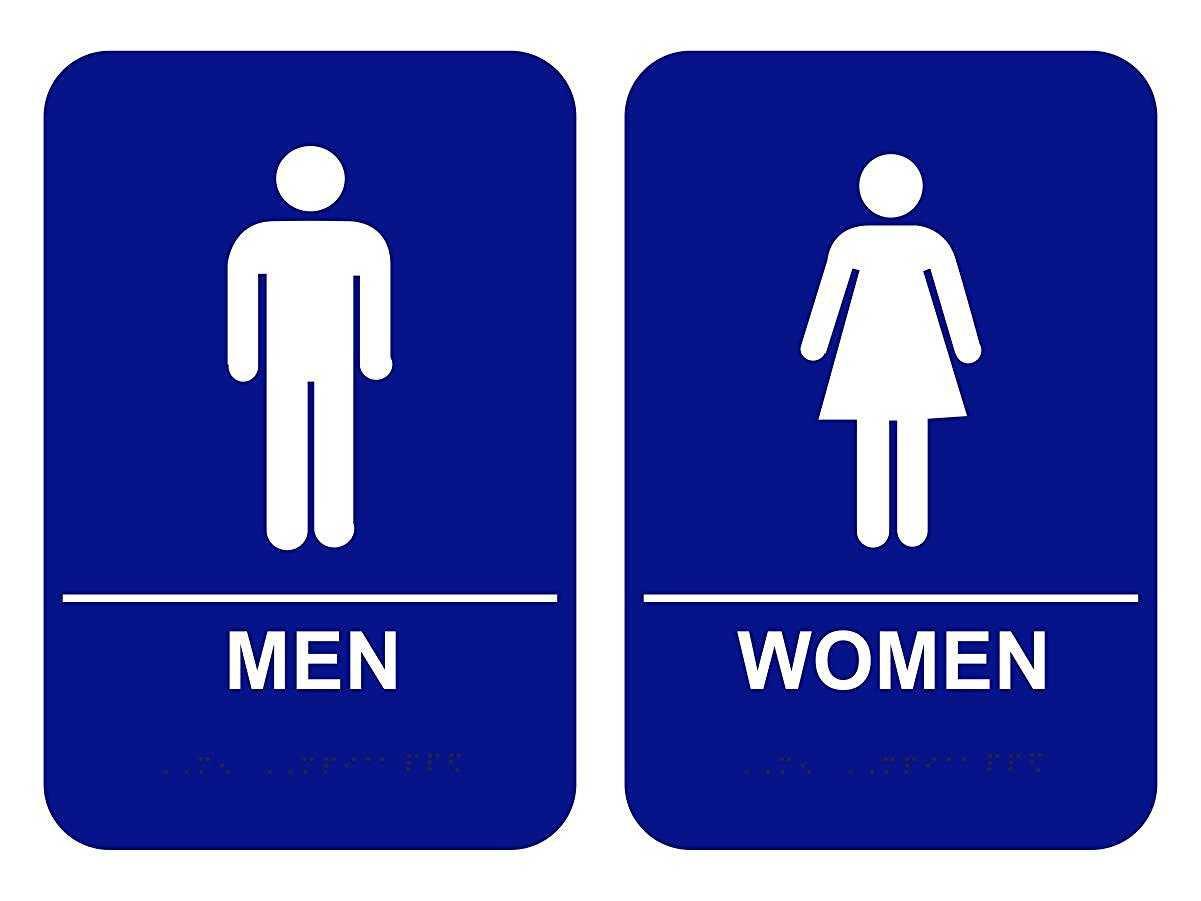 Gender signs in the bathroom