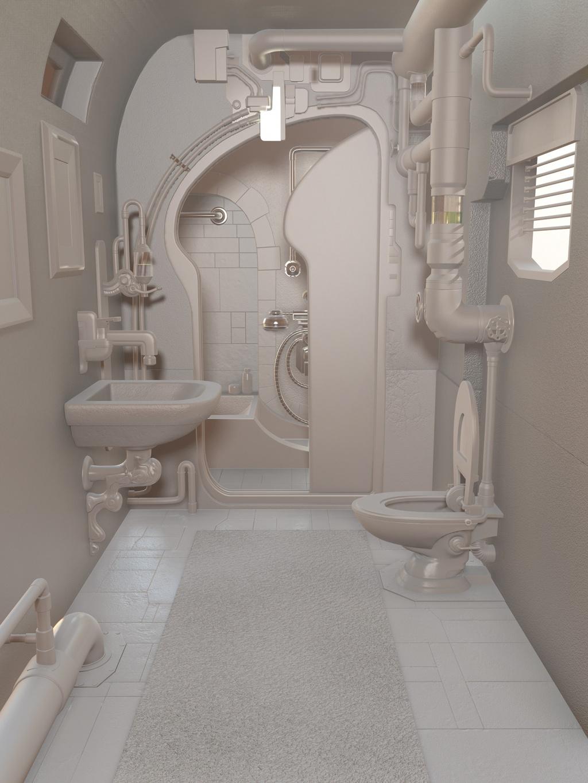 Milky steampunk bathroom