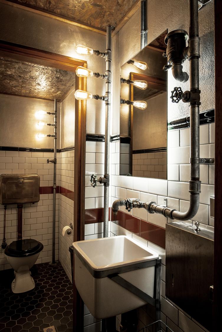 Radiant steampunk bathroom