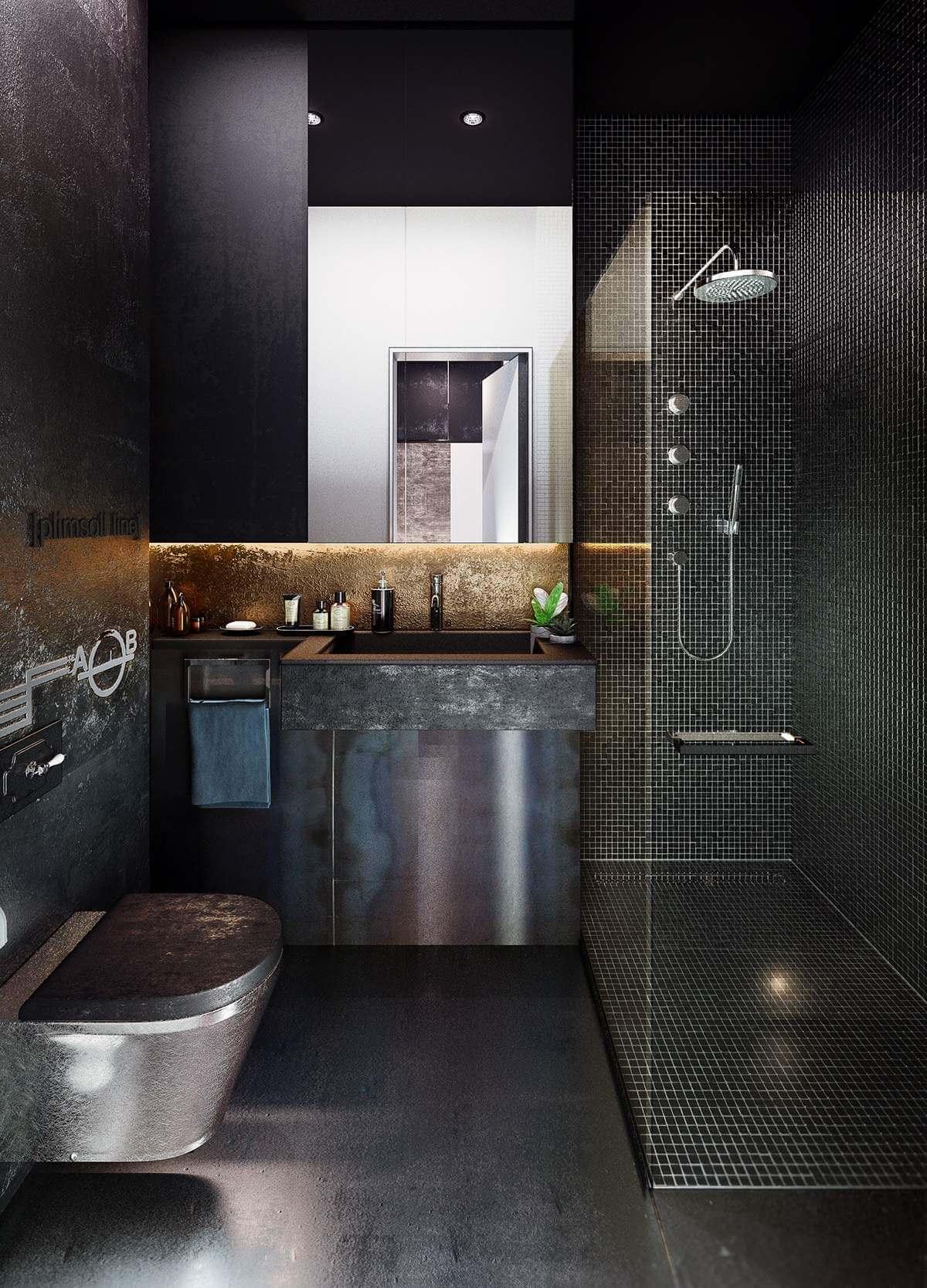 Metallic steampunk bathroom
