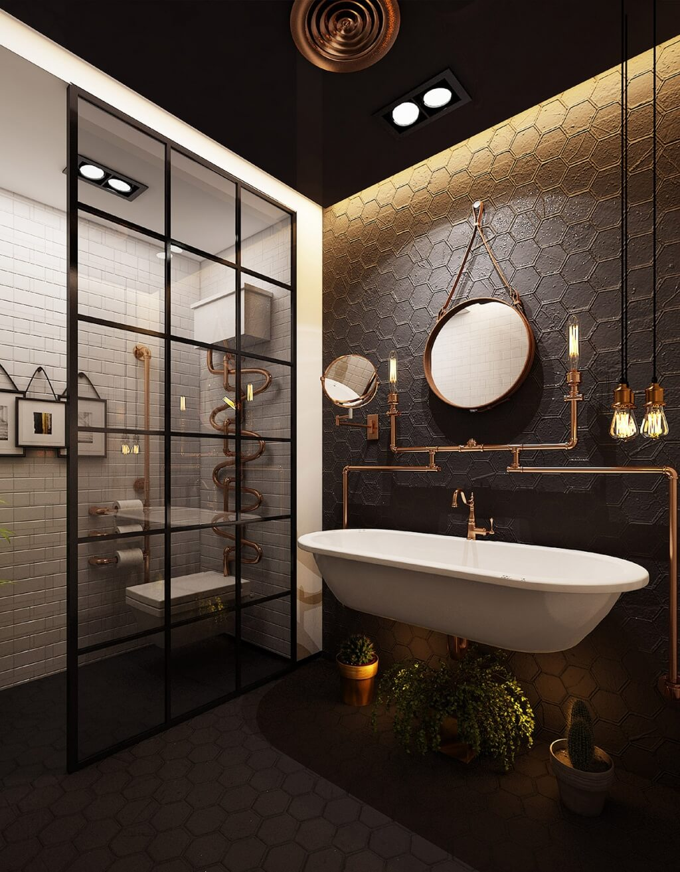 Fashionable steampunk bathroom