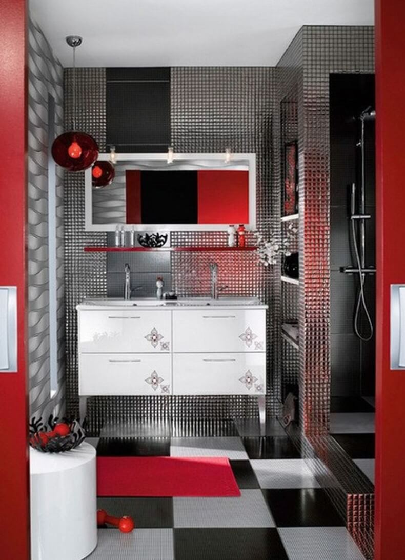 Great red bathroom