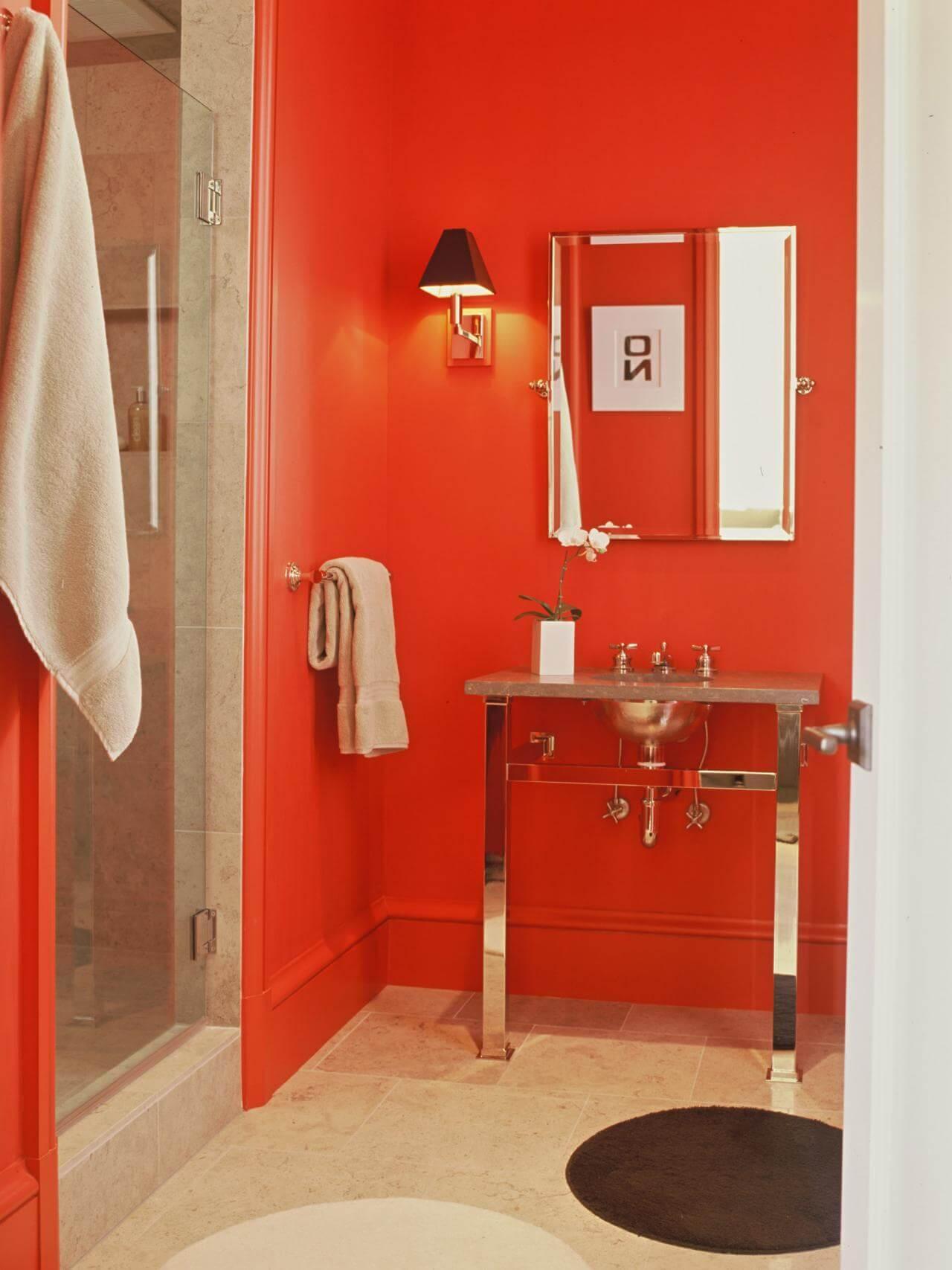 Graceful red bathroom