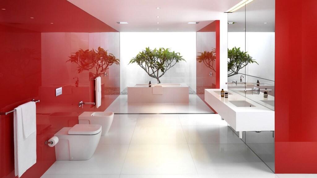 Fresh red bathroom