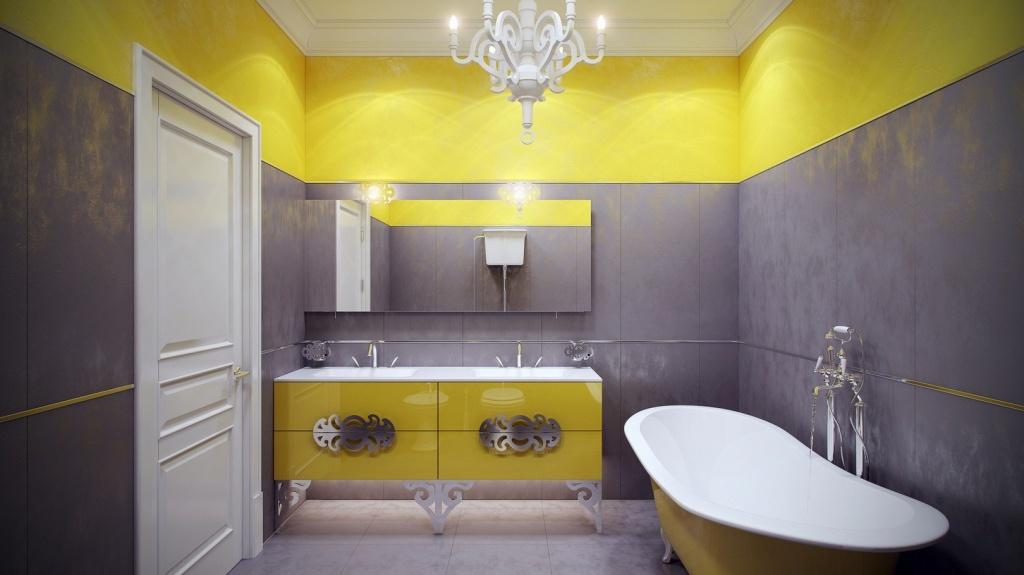 Chic yellow bathrooms