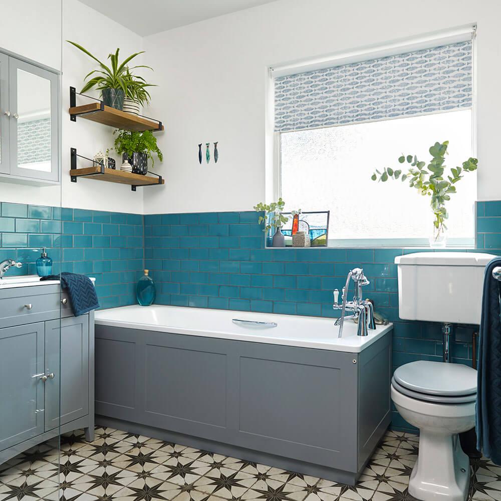 Blue DIY bathroom vanity