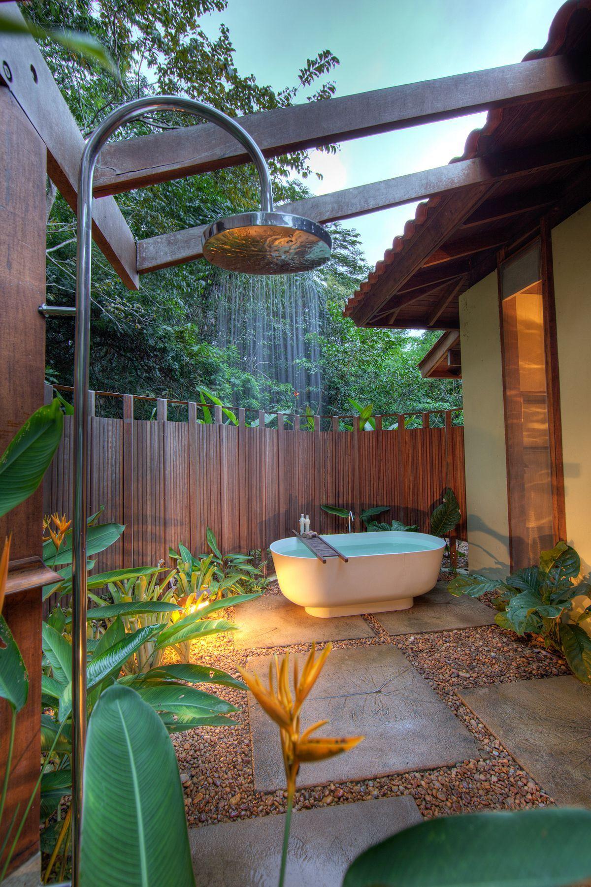Cozy outdoor bathroom